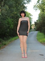 Beautiful Pantyhose Diva wearing nice dress - Granny Classic