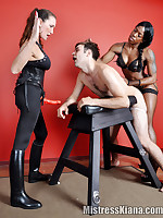 Mistress Janes has her FemDom friend join her to dominate this pathetic sissy